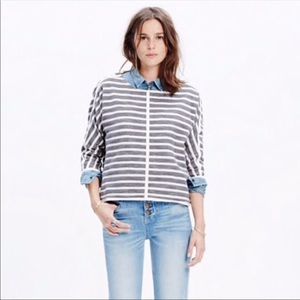 Madewell Striped Back Zip Pullover Crewneck